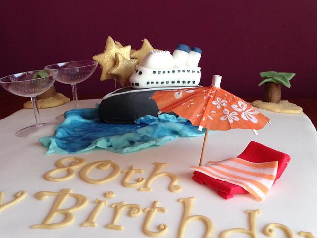 Cruise themed birthday cake