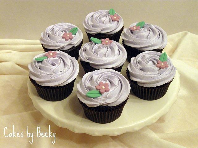Lavender Rosette Cupcakes