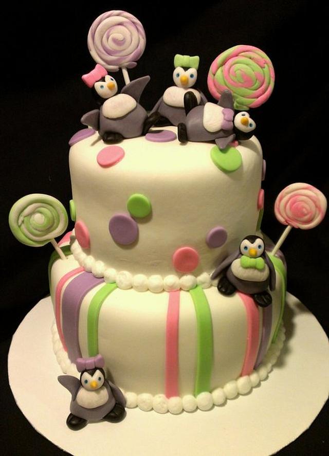 Superb Sweet Penguin Birthday Cake Cake By Kristi Cakesdecor Funny Birthday Cards Online Alyptdamsfinfo