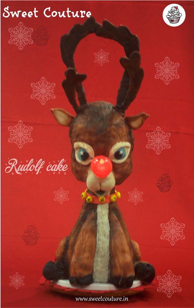 Rudolf cake with a very shiny nose