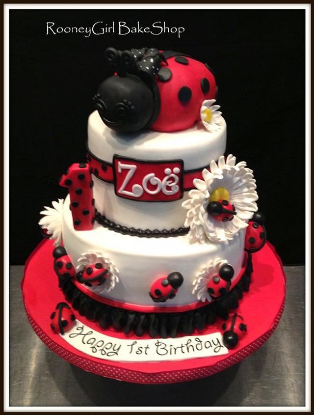 Peachy Ladybug 1St Birthday Cake By Maria Rooneygirl Cakesdecor Birthday Cards Printable Giouspongecafe Filternl