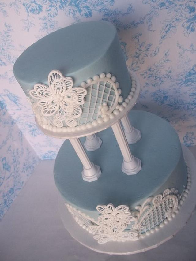 Light blue and white lace wedding