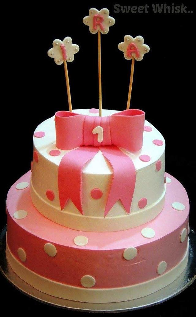 Bow & Polka Dot Whipped Cream Cake