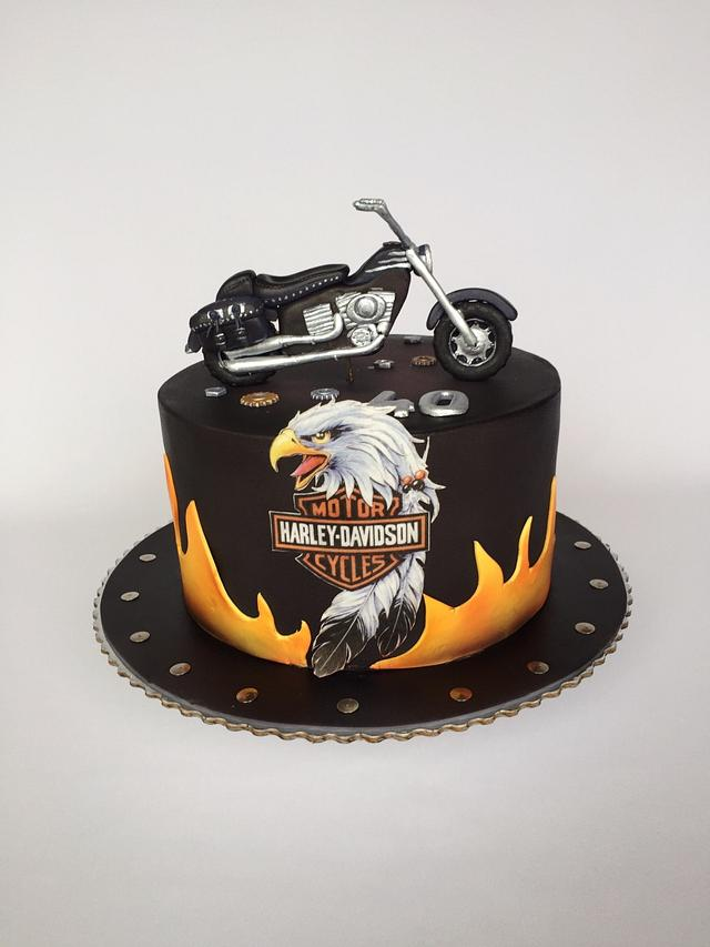 Superb Harley Davidson Birthday Cake Cake By Layla A Cakesdecor Funny Birthday Cards Online Elaedamsfinfo