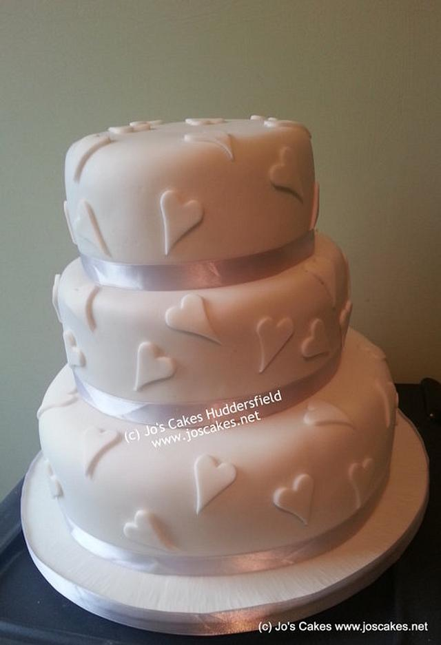 3 Tier Wedding Cake with Hearts