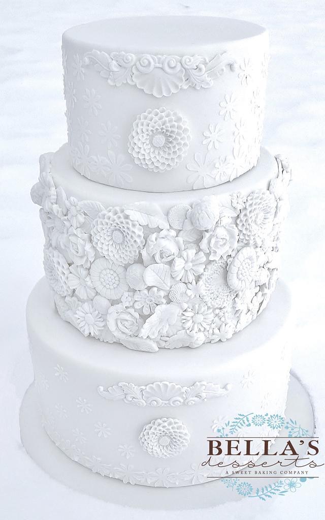 White on White Bas Relief Wedding Cake