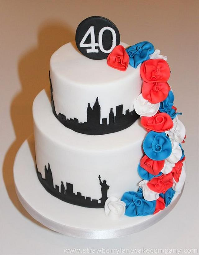 New York Skyline and Roses Cake