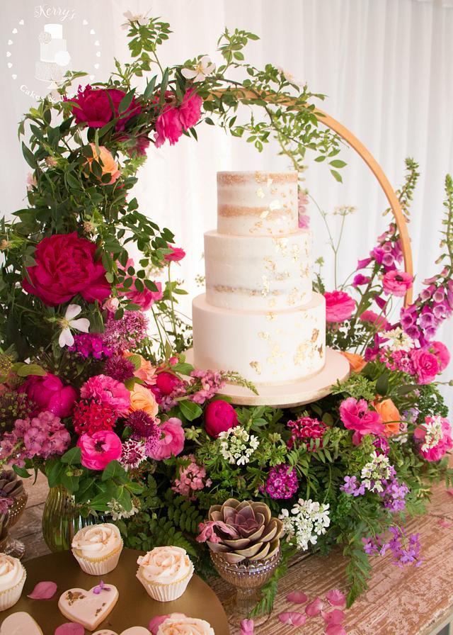 English country garden wedding cake