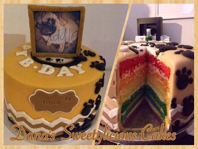 Rainbow doggy cake