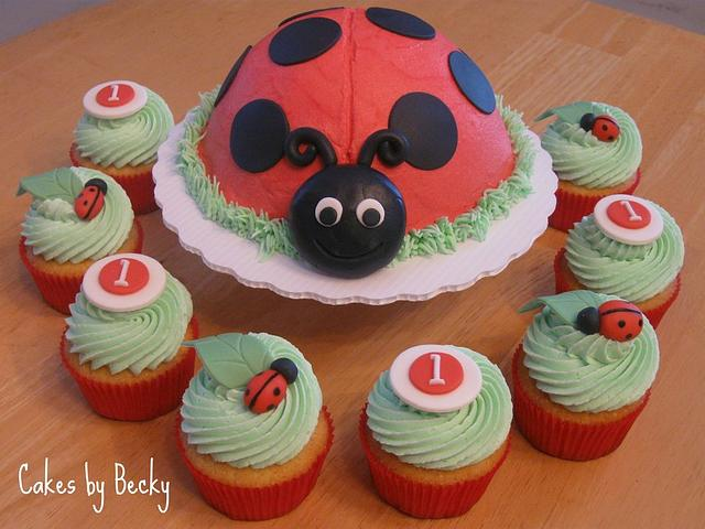 Admirable Ladybug First Birthday Cake By Becky Pendergraft Cakesdecor Birthday Cards Printable Benkemecafe Filternl