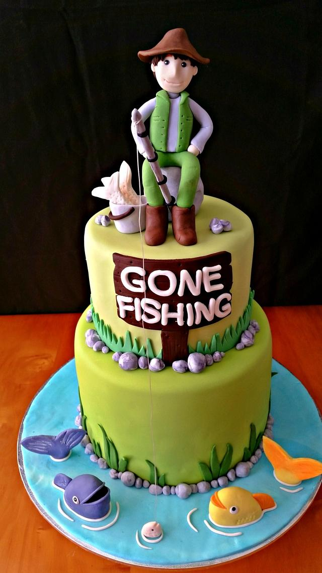 Awe Inspiring Fishing Themed Cake Cake By Love For Sweets Cakesdecor Funny Birthday Cards Online Eattedamsfinfo
