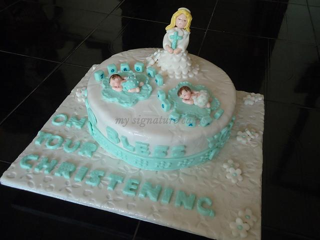 baptism cakes for twins....