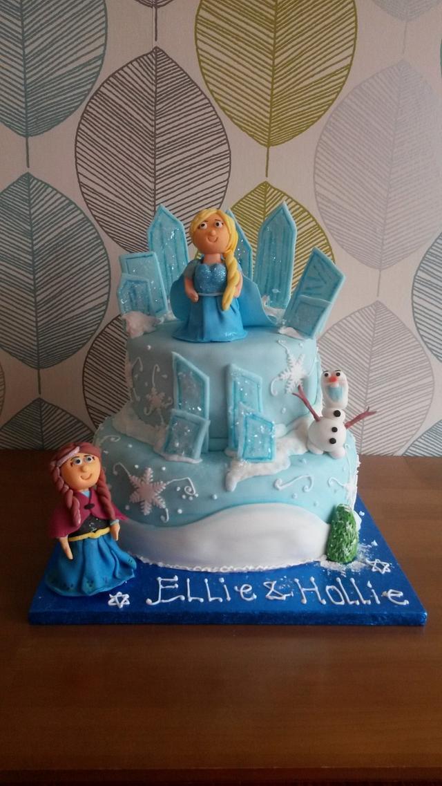 Frozen Elsa Ice Castle Anna birthday cake