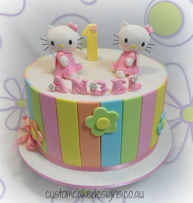 Pleasing Hello Kitty 1St Birthday Cake Cake By Custom Cake Cakesdecor Personalised Birthday Cards Veneteletsinfo