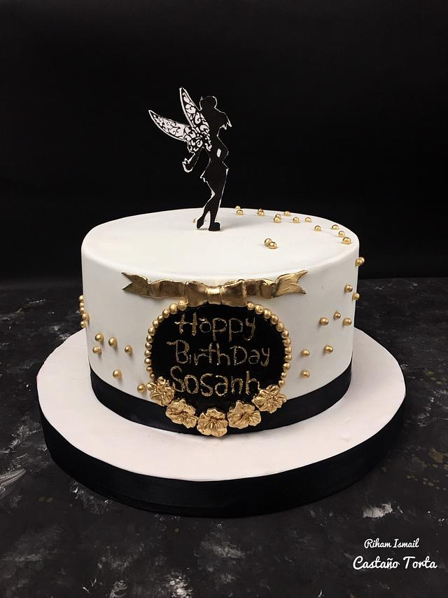 tinker bell silhouette cake