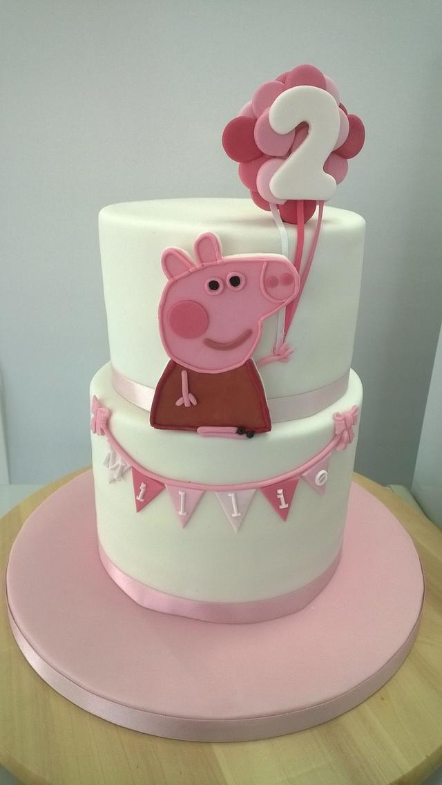 Superb Peppa Pig 2Nd Birthday Cake Cake By Combe Cakes Cakesdecor Funny Birthday Cards Online Overcheapnameinfo