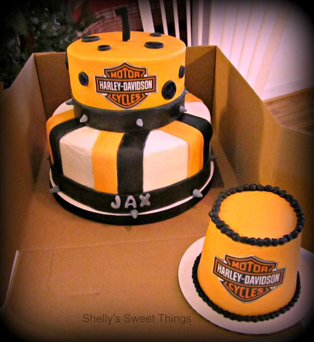 First Bday Harley Davidson cake and smash cake