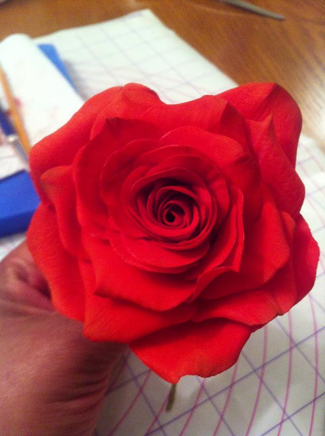 My first gumpaste rose.