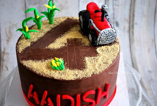 Vegan, eggless, sugarfree, butterfree, oil free , whole wheat and tractor theme cake