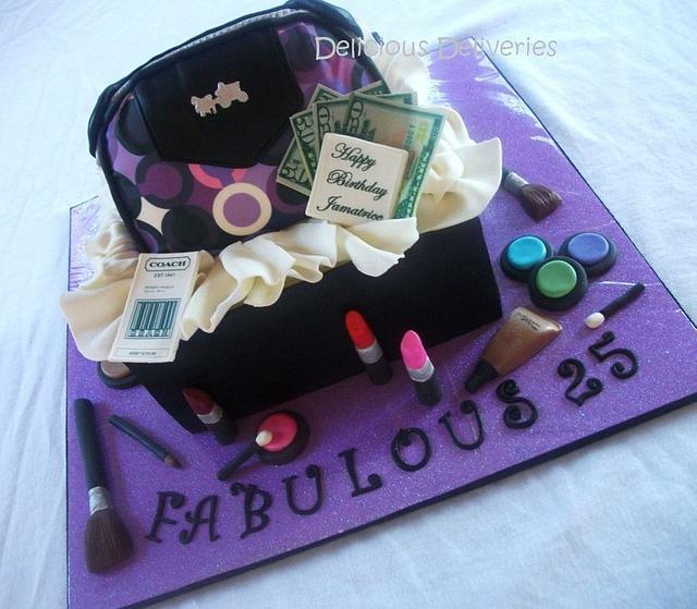 Coach Purse and Makeup Giftbox Cake