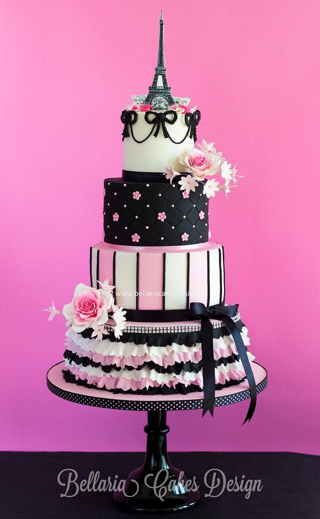 Wondrous Parisian Themed Birthday Cake Cake By Bellaria Cake Cakesdecor Funny Birthday Cards Online Fluifree Goldxyz