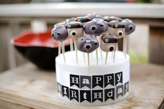 Instagram and camera cakepops