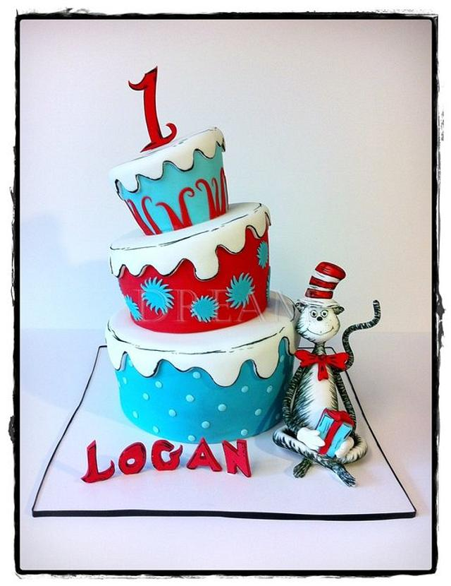 Sensational The Cat In The Hat Cake By Dream Cakes By Robyn Cakesdecor Funny Birthday Cards Online Elaedamsfinfo