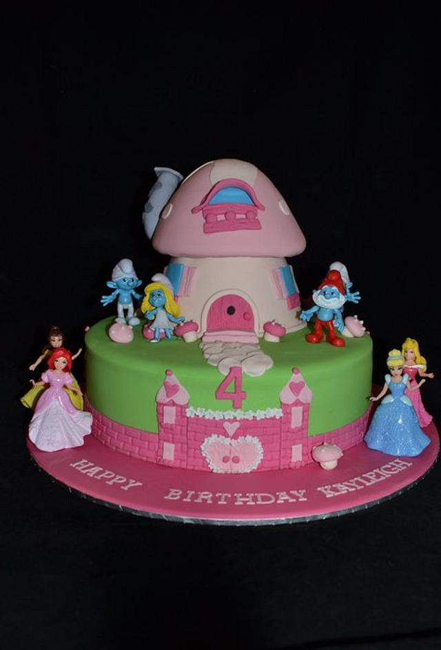 smurfette and disney princess cake