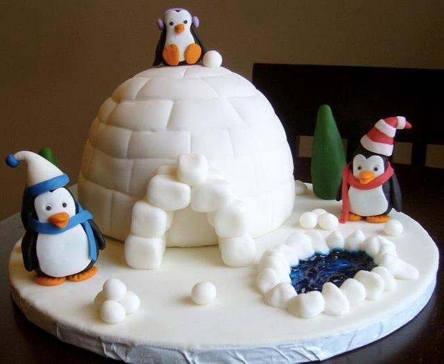 Penguin Family Birthday Cake