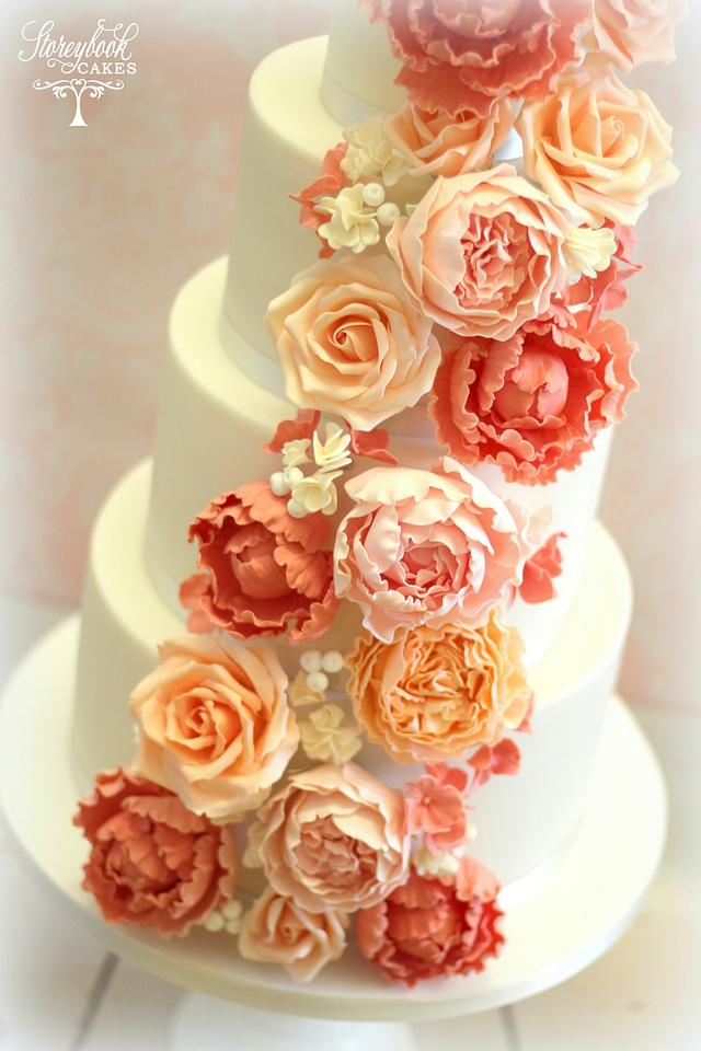 Coral and pink floral cake