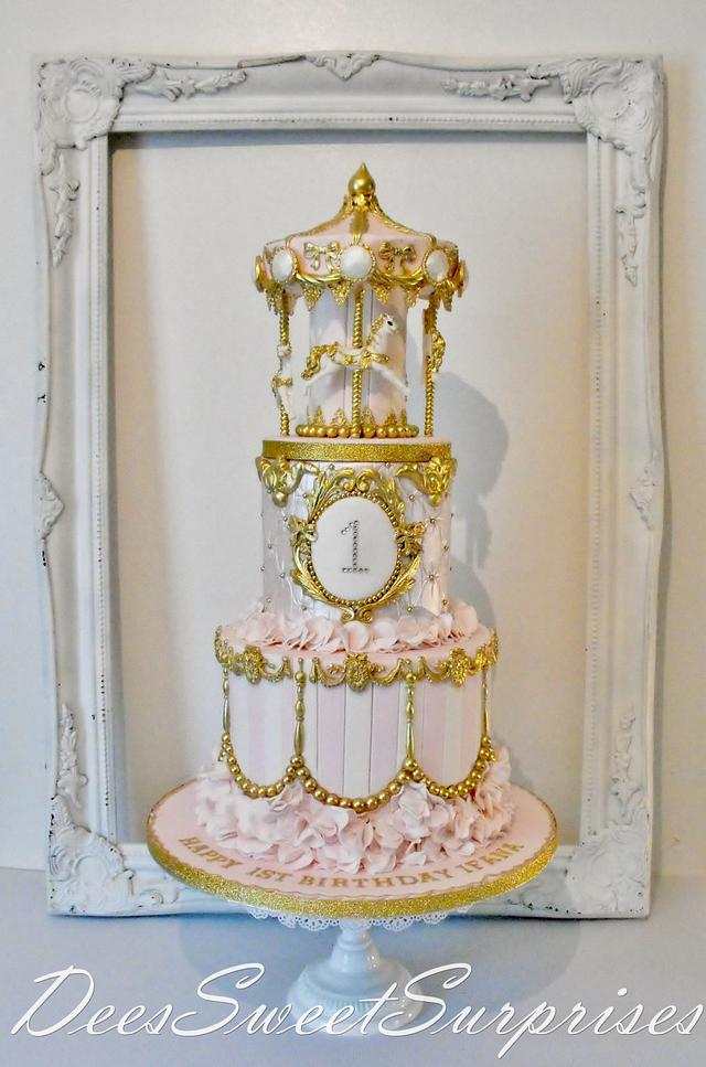 Awe Inspiring Girls 1St Birthday Carousel Cake Cake By Dee Cakesdecor Personalised Birthday Cards Veneteletsinfo