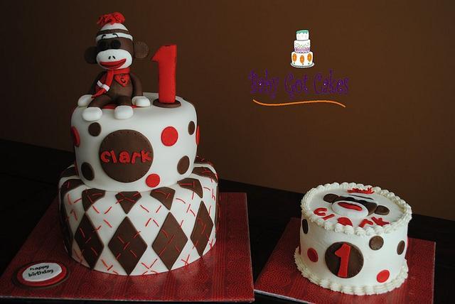 Fabulous Sock Monkey 1St Birthday Two Tier With Smash Cake Cake Cakesdecor Birthday Cards Printable Giouspongecafe Filternl