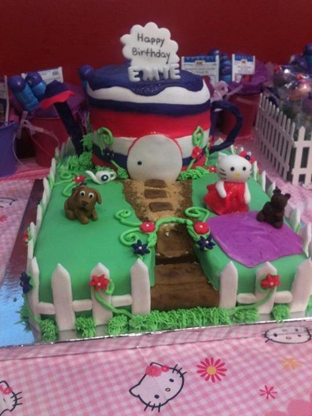Hello Kitty Garden Theme Cake