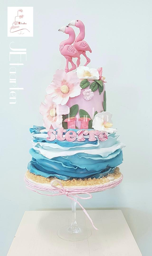 Astonishing Summer Flamingo Birthday Cake Cake By Judith Jetaarten Cakesdecor Personalised Birthday Cards Veneteletsinfo