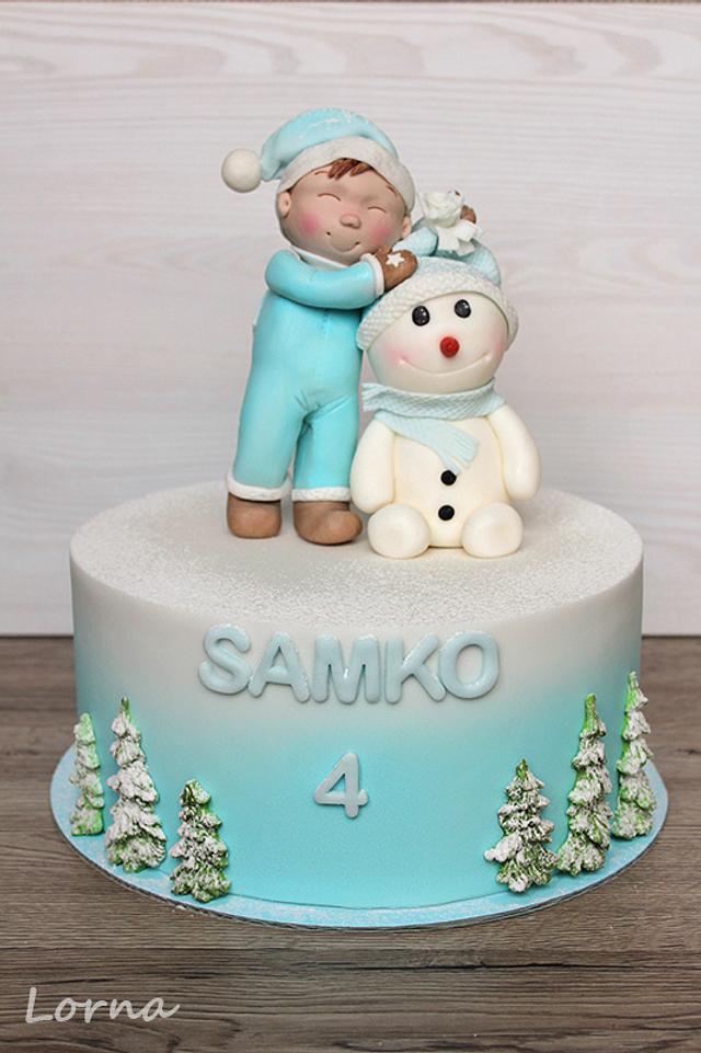 Little boy and snowman