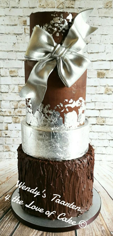 Chocolate an leaf silver wedding cake