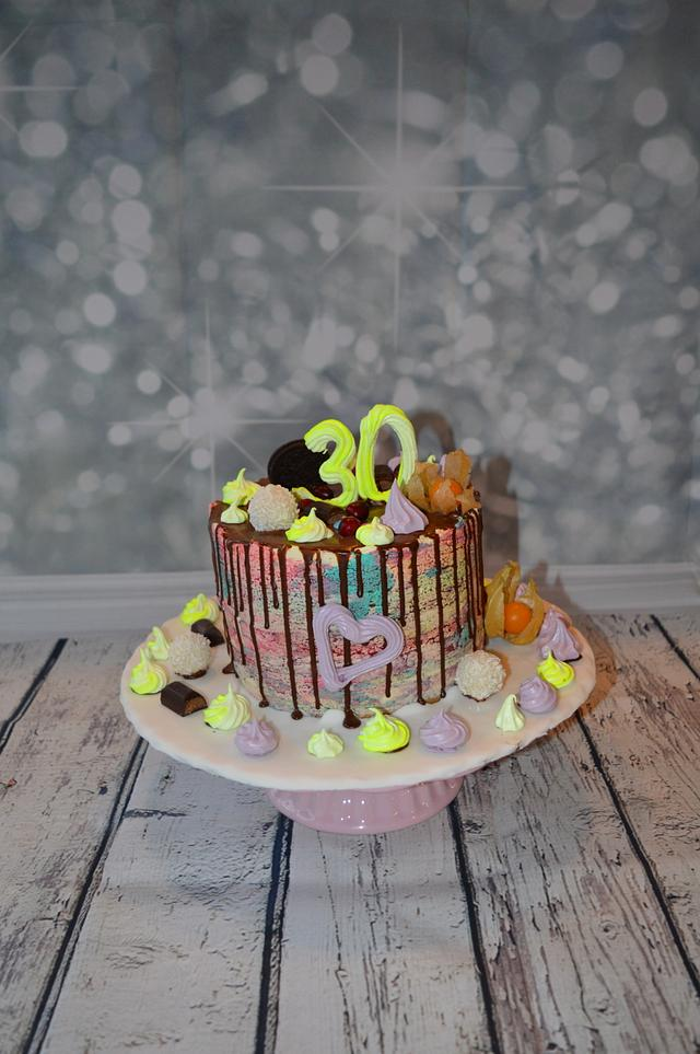 30 th birthday neon cake