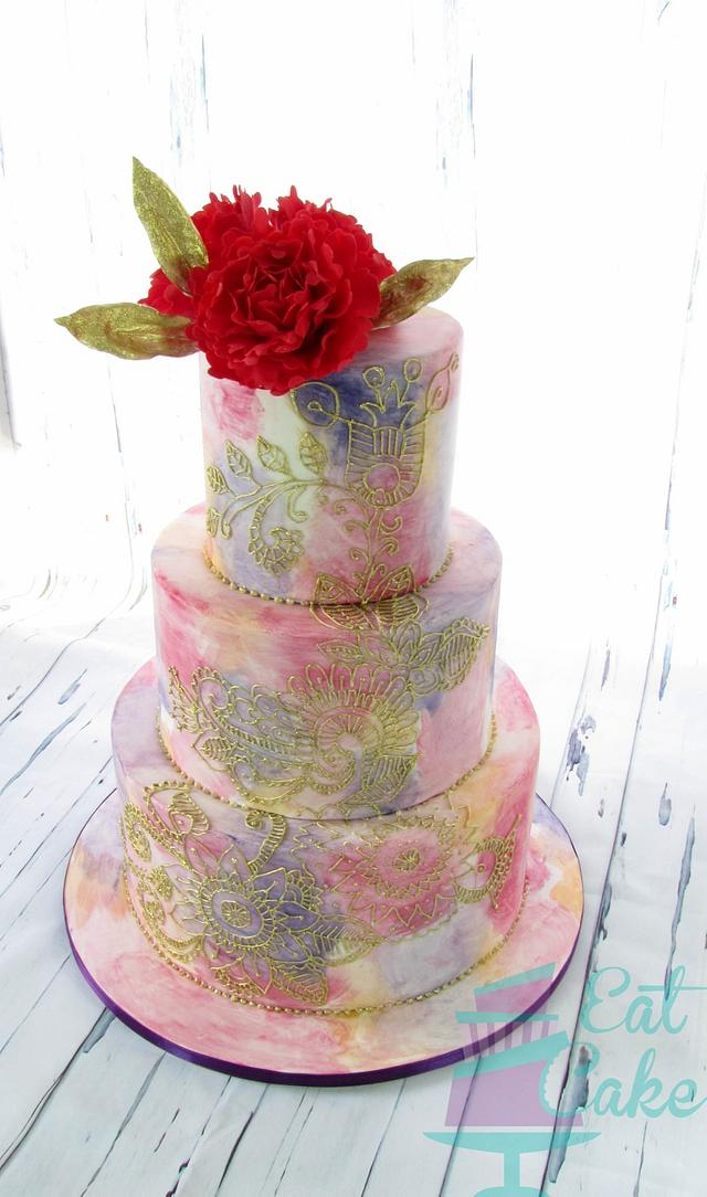 Painted and Hand Piped Cake