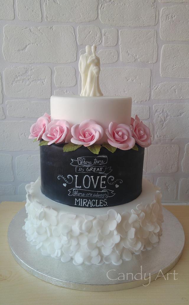Chalkboard romantic cake