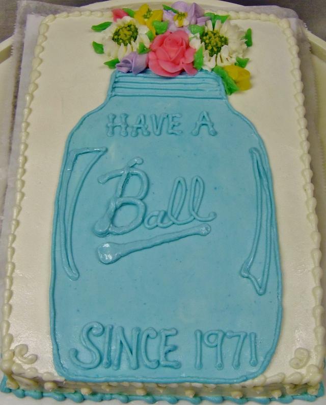 Ball Jar Cake with flowers