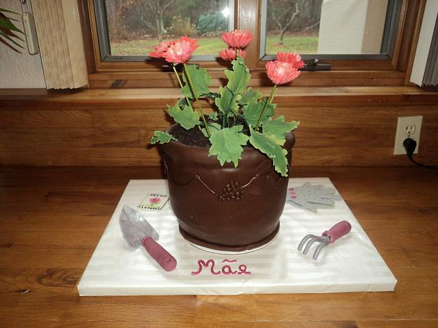 Flower Pot Birthday Cake