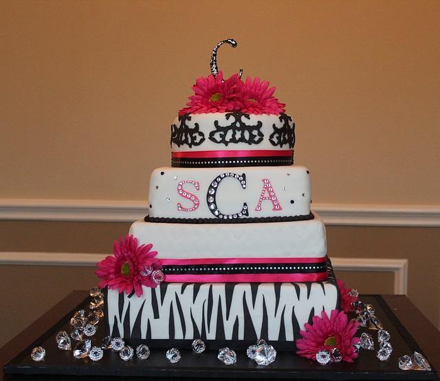 Hot pink and animal print wedding cake