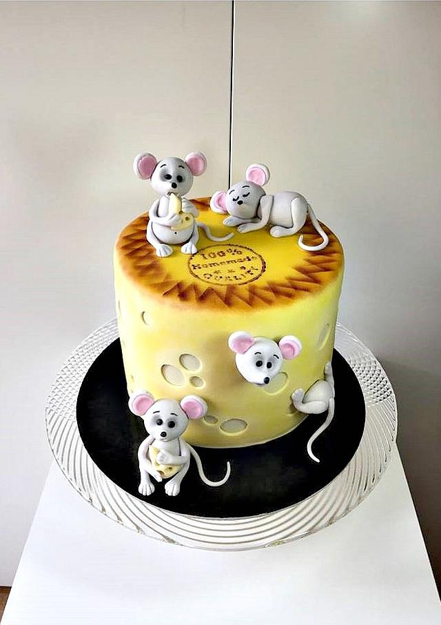 Cheese with mice cake