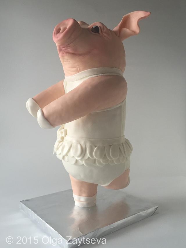 Dancing pig cake.