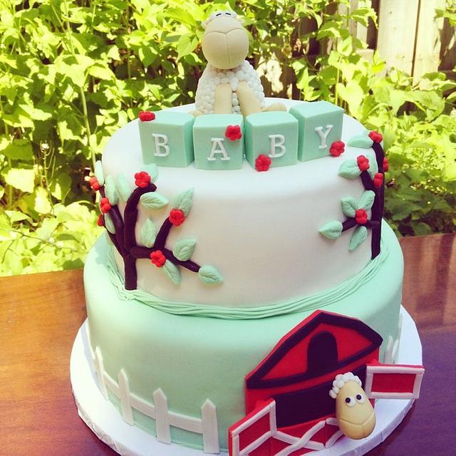 Sheep Themed Baby Shower Cake