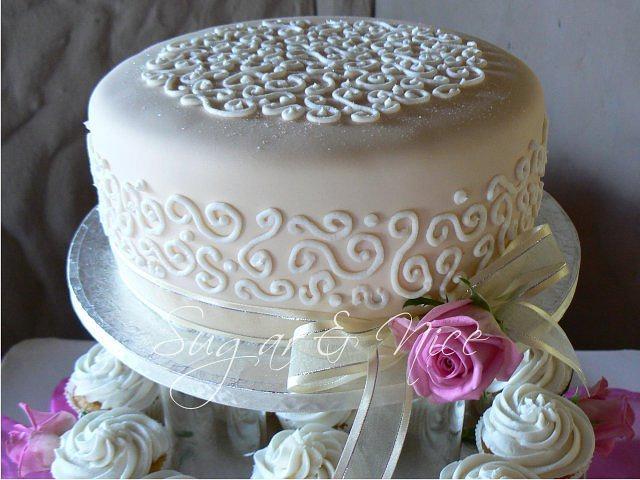 Ivory & White Wedding Cupcake Tower