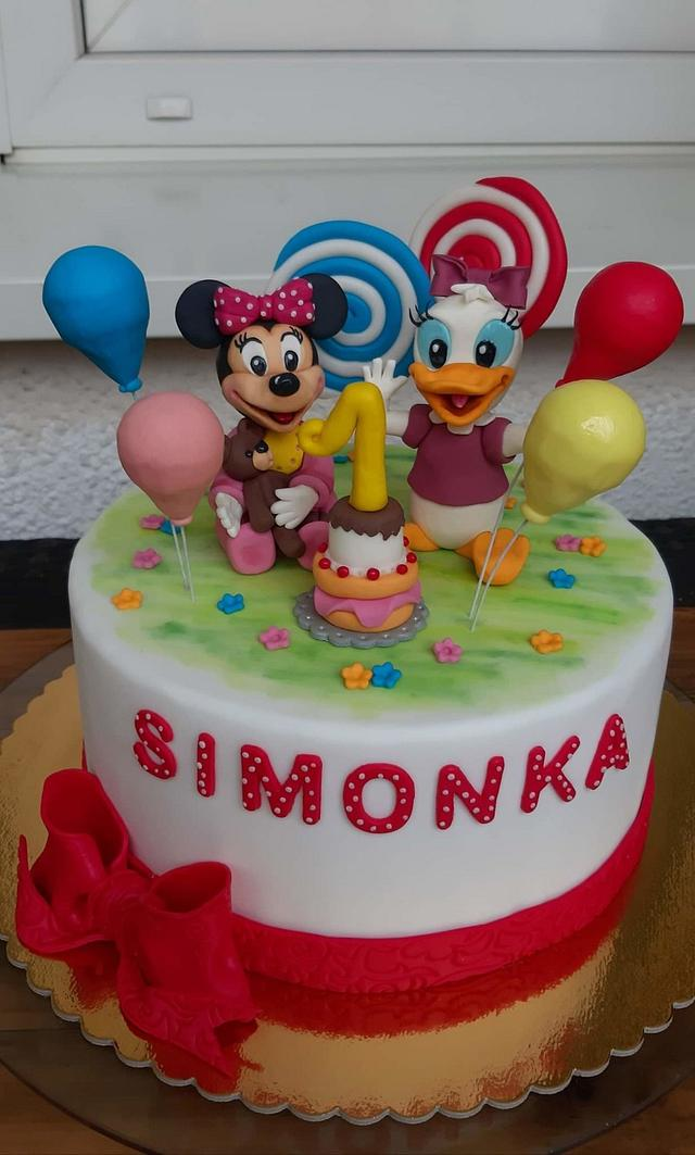 Phenomenal Minnie And Daisy Cake Cake By Veronicakes Cakesdecor Personalised Birthday Cards Vishlily Jamesorg
