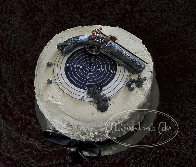 Antique pistol cake