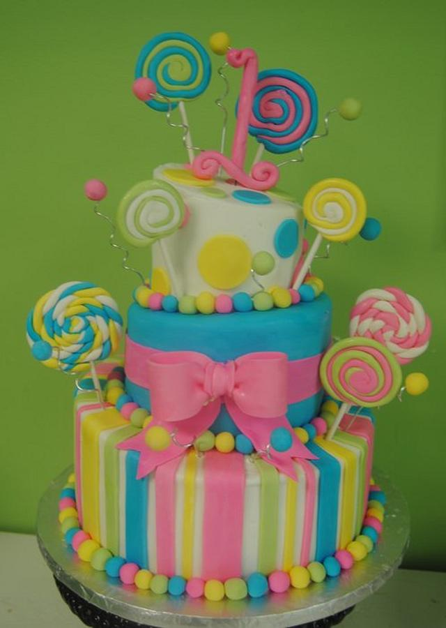 Lollipop 1st Birthday Cake