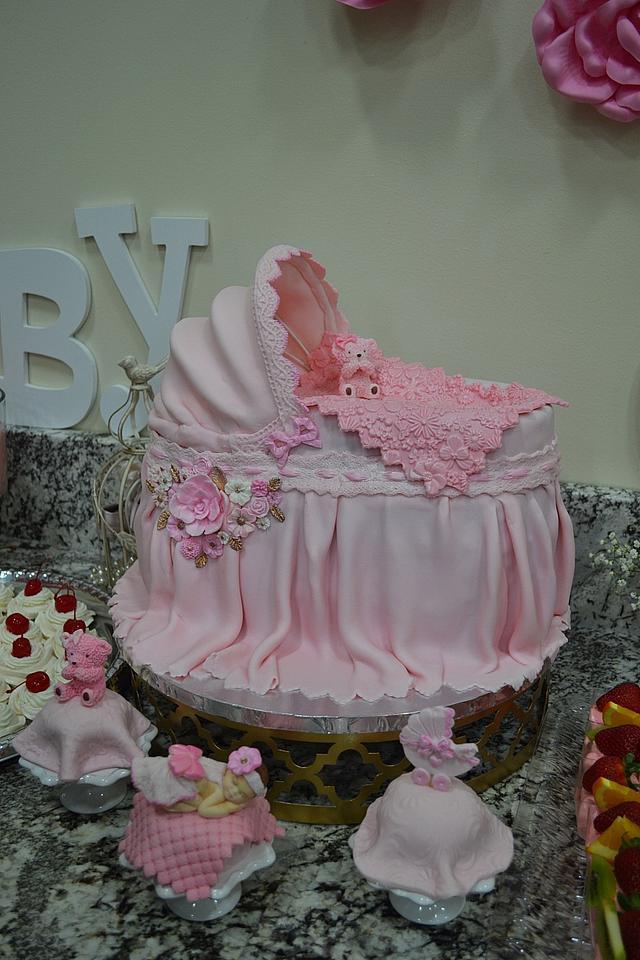 Baby Bassinet Cake for a Girl